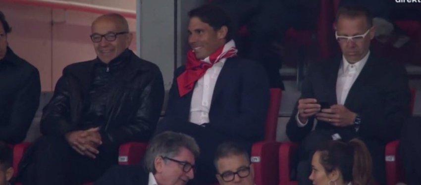 Rafa Nadal, en el palco del Wanda Metropolitano. Foto: Twitter.