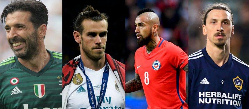 Buffon, Bale, Vidal o Ibrahimovic son algunos de los que no estarán en Rusia. Foto: @caracoldeportes.