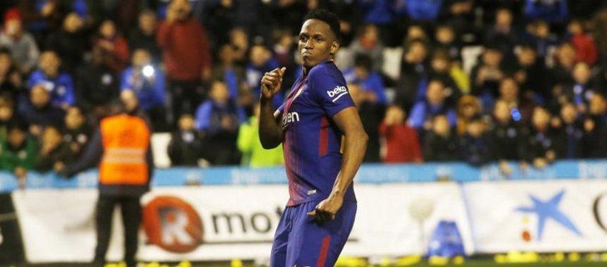 Yerry Mina celebró a lo grande su primer gol. Foto: Twitter.