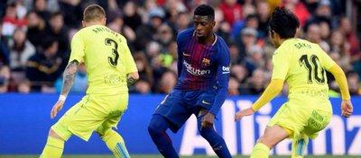 Dembelé, hoy en el Camp Nou. Foto: Twitter.