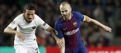 Iniesta, en la ida de los cuartos de final de la Champions ante la Roma. Foto: Diario Sport.