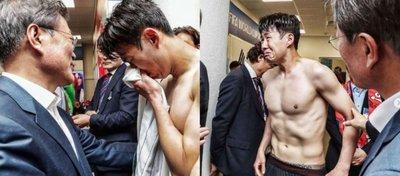 Las lágrimas de Heung-Min Son tras el Corea del Sur-México. Foto: Twitter.