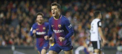 Coutinho celebra su primer gol con el Barça. Foto: FC Barcelona.