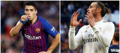 Suárez y Bale, jugadores de Barça y Madrid. Foto. Twitter.