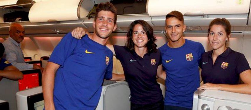 Varias jugadoras acudieron a la zona business para fotografiarse con los de Valverde. Foto: Twitter.