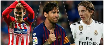 Griezmann, Messi y Modric.