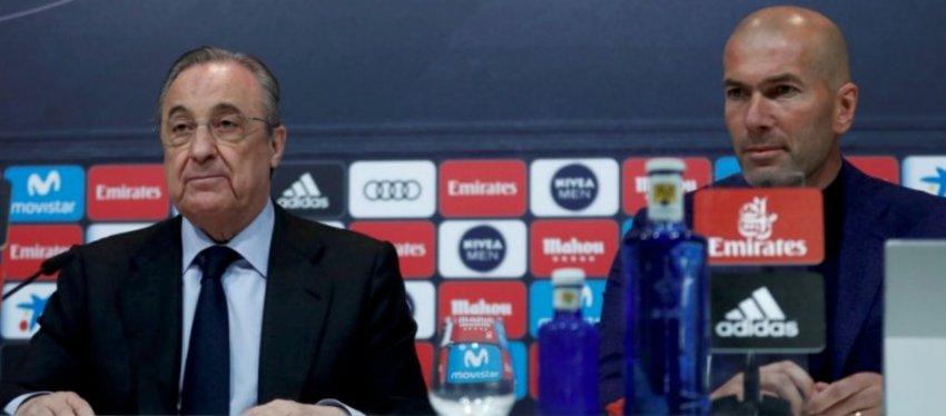 Florentino Pérez y Zidane, en la despedida del francés como entrenador del Real Madrid. Foto: Twitter.