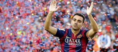 Xavi, en su despedida del FC Barcelona. Foto: Twitter.