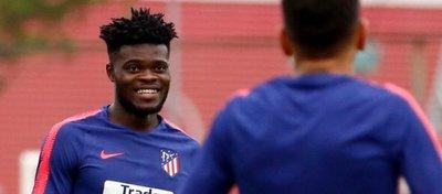 Thomas, en un entrenamiento con el Atlético de Madrid. Foto: Twitter.
