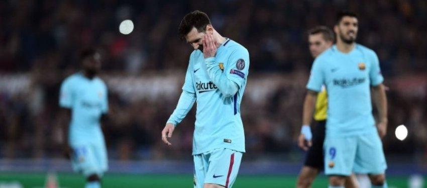 Ni rastro de Messi en el 3-0 de la Roma al Barça. Foto: Twitter.