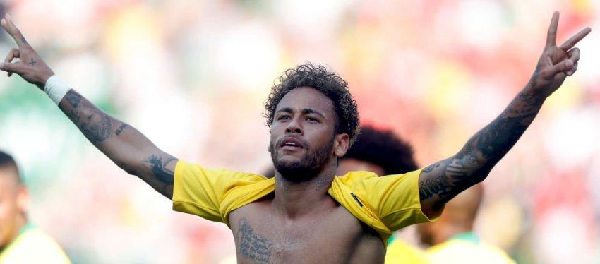 Neymar celebra el tanto ante Austria. Foto: Twitter.