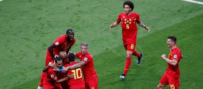 Bélgica celebra su victoria ante Brasil. Foto: Twitter.