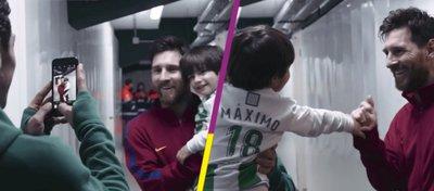 El encuentro entre el pequeño Máximo y Leo Messi. Foto: Twitter.
