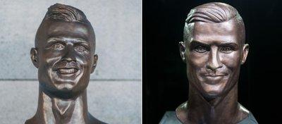 El antes y el después del busto de Cristiano Ronaldo. Foto: Twitter.