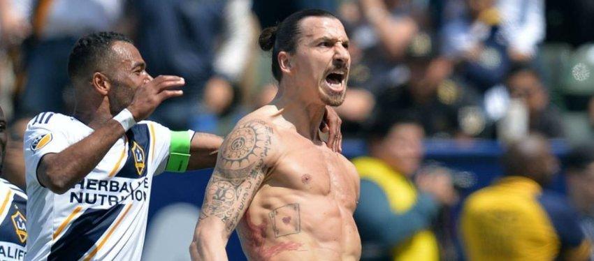 Ibrahimovic celebra su primer gol con LA Galaxy. Foto: Twitter.